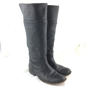 Knee high boot tall black leather Melissa Trapunto
